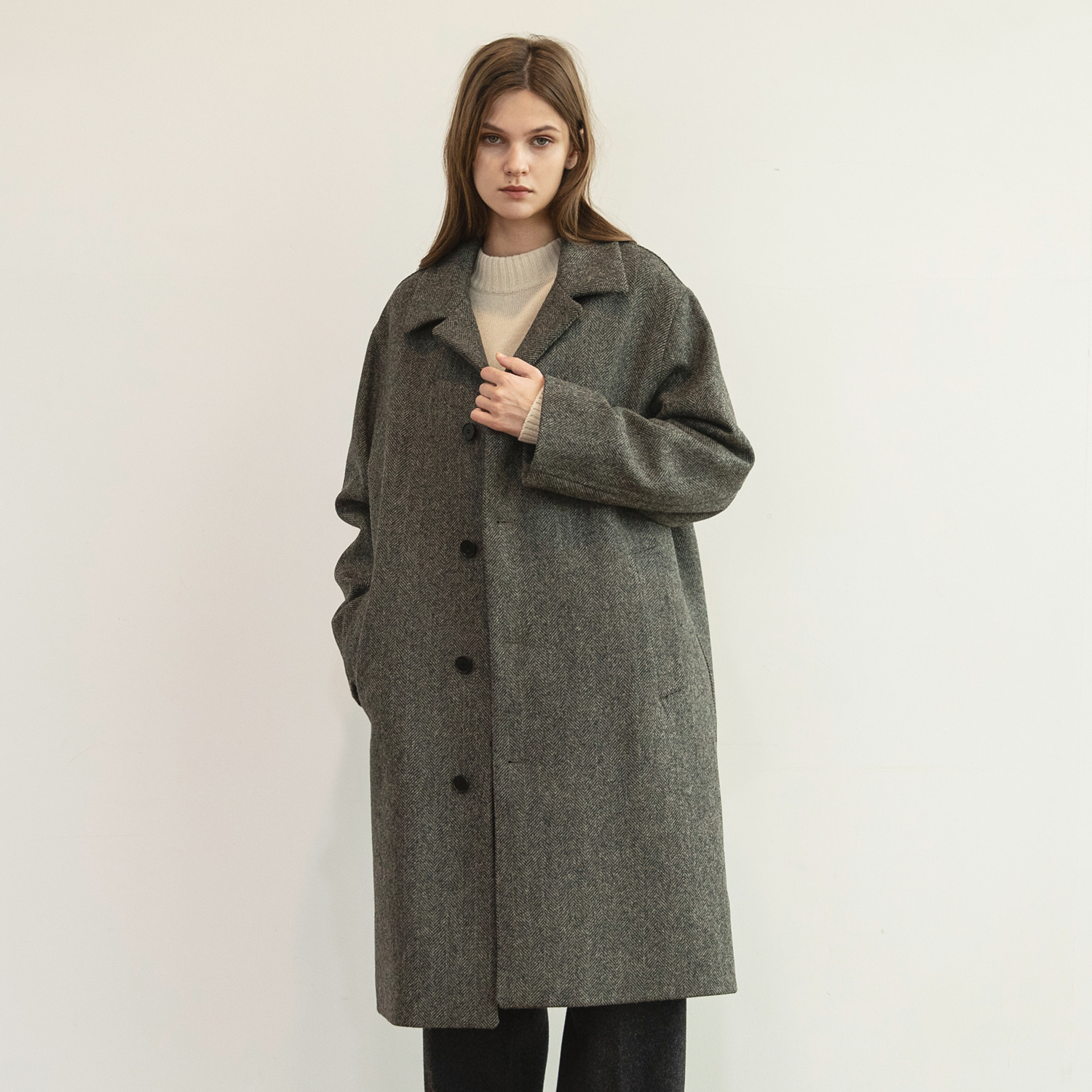 Women Bonjour Coat (Moontweed Herringbone Grey)