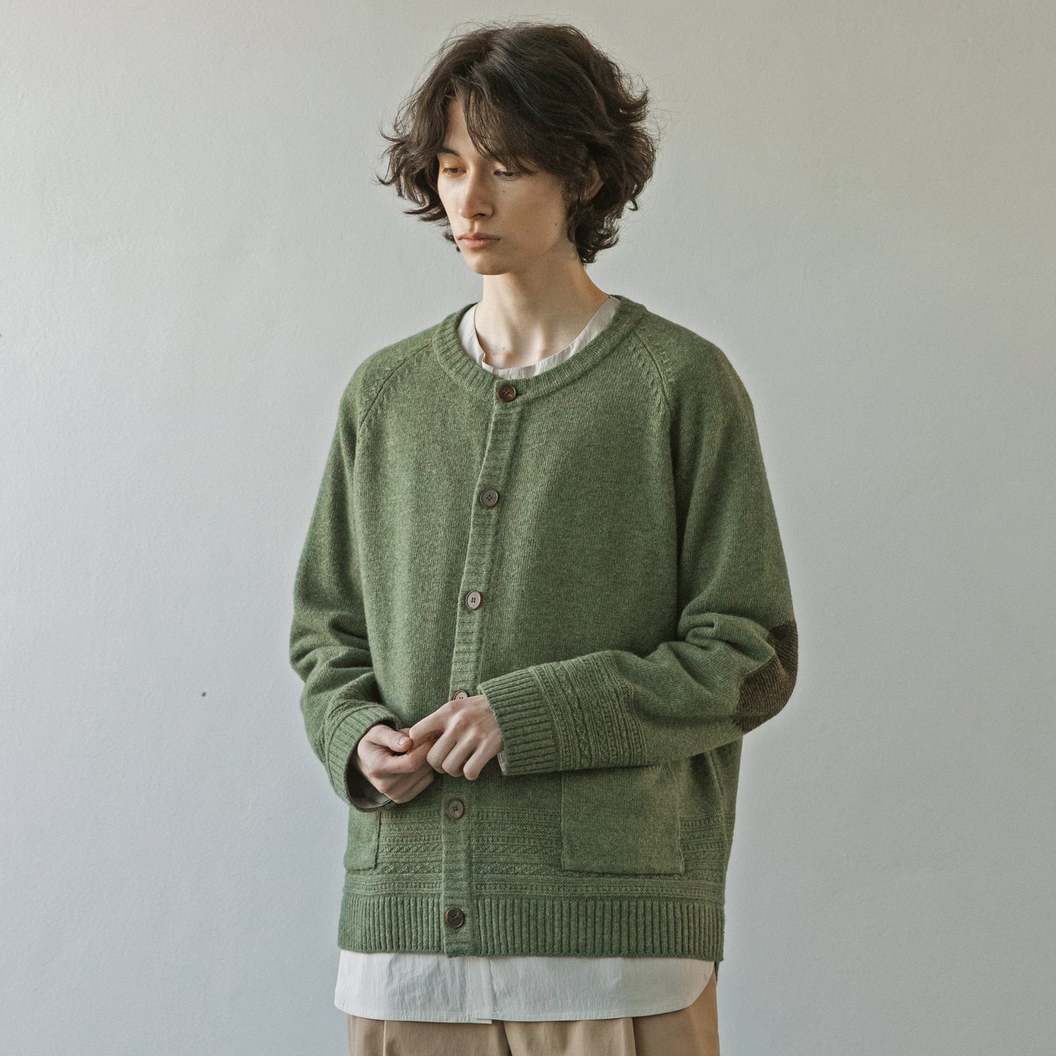 21SS Gentle Link Cardigan (Green Bean)