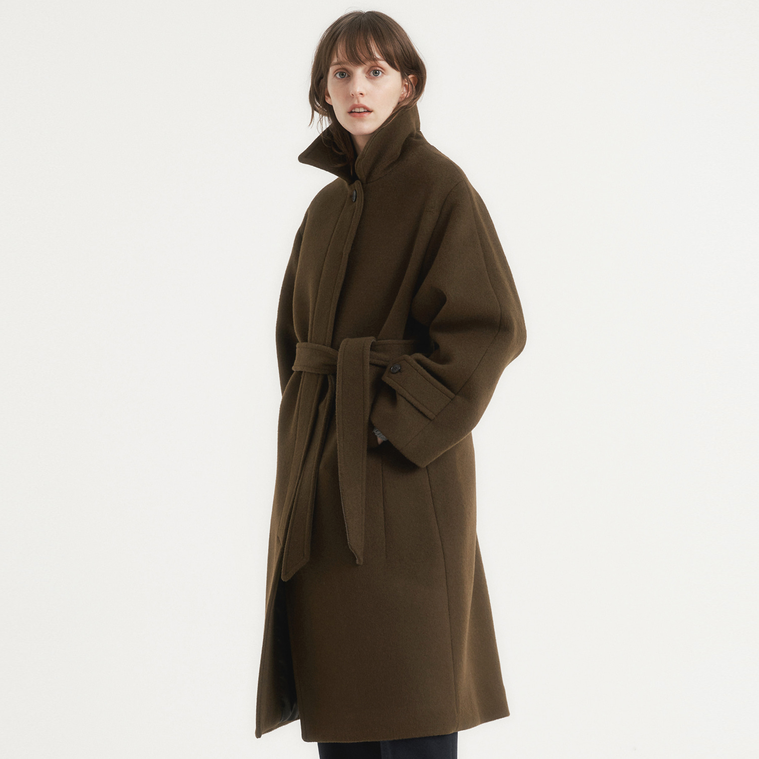 Women Cashmere Belted Coat (Mocha Brown)