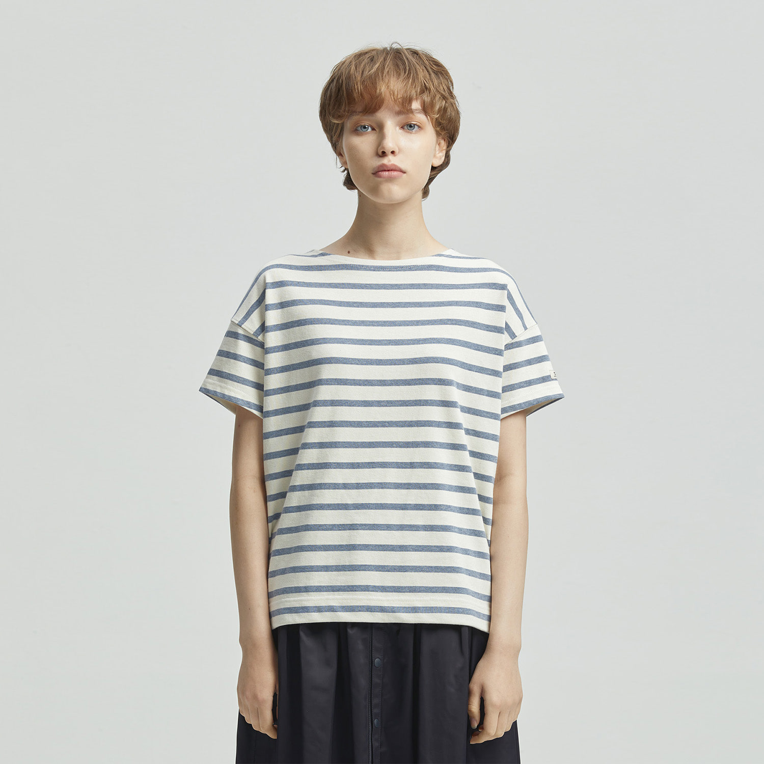 Women Pier Basqueshirt (Sea/Ecru)