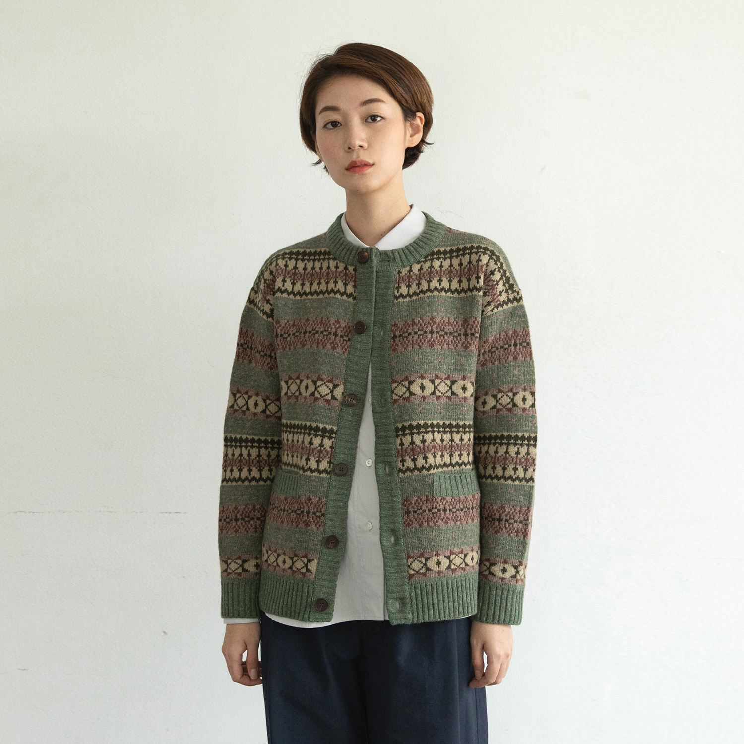 Women Grandma Cardigan (Green Bean)